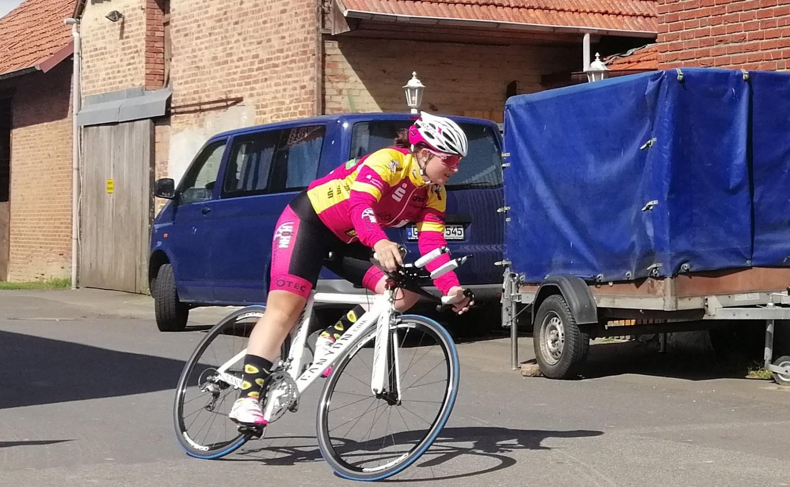 Jennifer Kuppel beim Training am Tag vor dem Rennen